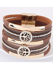 Fahsion Brown Diamond Decorated Tree Shape Multi-layer Bracelet