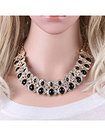 Fashion Black Rond Shape Gemstone Decorated Simple Double Layer Necklace