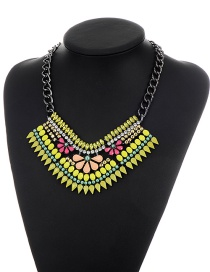 Bohemia Yellow Oval Shaape Gemstone Decorated Simple Short Chain Necklace