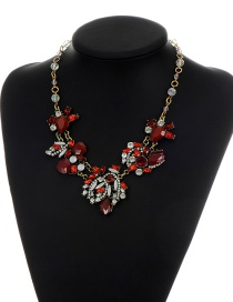 Fashion Red Oval Shape Gemstone Decorated Short Chain Necklace