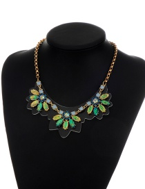 Fashion Multi-color Flower Shape Pendant Decorated Simple Short Chain Necklace