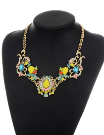 Fashion Multi-color Flower Shape Decorated Simple Short Chain Necklace