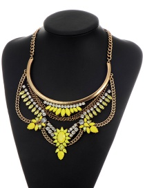Fashion Yellow Irregularity Shape Pendant Decorated Simple Short Chain Necklace