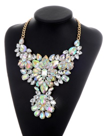 Fashion Multi-color Geometric Shape Diamond Decorated Simple Short Chain Necklace