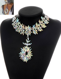 Exaggerate Multi-color Whatershape Diamond Decorated Simple Short Chain Necklace
