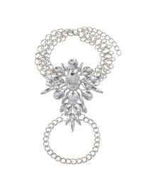 Fashion Silver Color Oval Shape Diamond Decorated Simple Bracelet