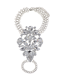 Fashion Silver Color Oval Shape Diamond Decorated Hollow Out Simple Bracelet