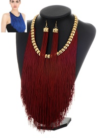 Exaggerate Dark Red Long Chain Pendant Decorated Simple Jewelry Sets