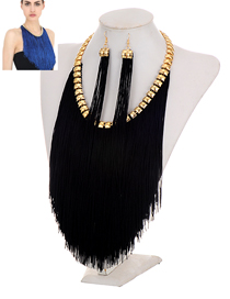Exaggerate Black Long Chain Pendant Decorated Simple Jewelry Sets