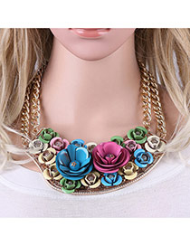 Fashion Mulit-color Folower Shape Pendant Decorated Simple Short Chain Necklace