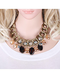 Fashion Gold Color ' Round Shape Pendnat Decorated Simple Short Chain Necklace
