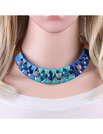 Personality Blue Round Shape Decorated Simple Short Chain Necklace