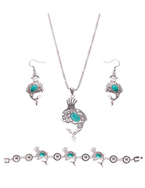 Lovely Green Dolphin Shape Pendant Decorated Simple Jewelry Sets