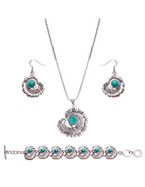 Lovely Green Feather Shape Pendant Decorated Simple Jewelry Sets