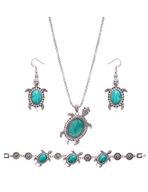 Lovely Green Tortoise Shape Pendant Decorated Simple Jewelry Sets