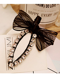 Lovely Black Bowknot Shape &round Shape Diamond Decorated Simple Hairpin