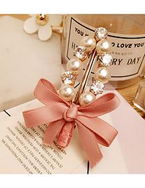 Elegant Pink Bowknot Shape &round Shape Diamond Decorated Simple Hairpin