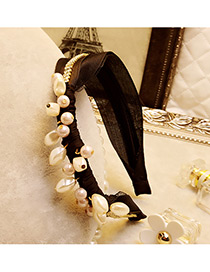 Elegant Black Round Shape Decorated Simple Wide Hair Clasp