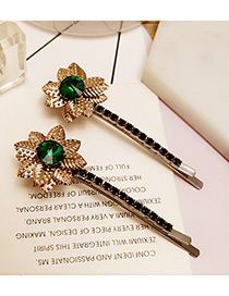Vintage Green Flower Decorated Color Matching Simple Hair Pin (2pcs)