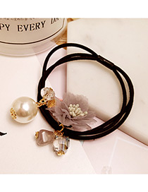 Elegant Gray Flower&pearl Decorated Multi-layer Hair Band