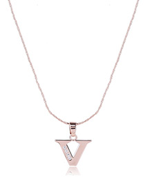 Fashion Gold Color Metal Letterv Shape Pendant Decorated Simple Long Chain Neckalce