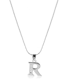 Fashion Silver Color Metal Letterr Shape Pendant Decorated Simple Long Chain Neckalce