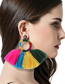 Trendy Multi-color Color Matching Decorated Tassel Design Simple Earrings