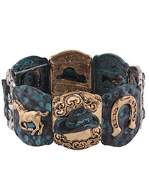Trendy Antique Bronze Horse&hat Pattern Decorated Color Matching Bracelet