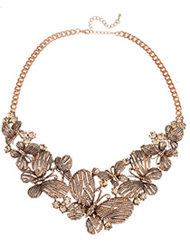 Fashion Gold Color Butterfly Decorated Pure Color Simple Necklace
