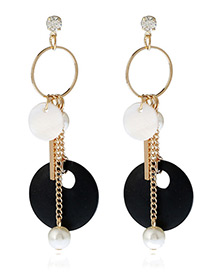 Elegant Black+white Pearls&vertical Shape Pendant Decorated Color Matching Earrings