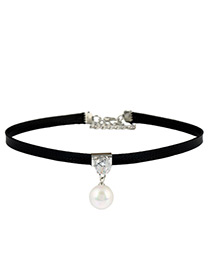 Fashion Silver Color Pearl&diamond Decorated Simple Short Choker