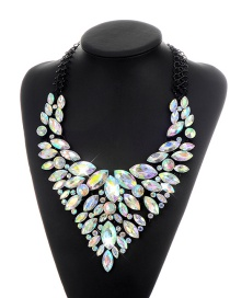 Fashion Multi-color Oval Shape Diamond Decorated Color Matching Necklace