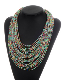 Fashion Light Blue+red Beads Decorated Color Matching Multi-layer Necklace