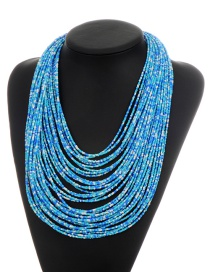 Fashion Blue Beads Decorated Color Matching Multi-layer Necklace