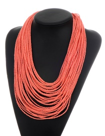 Fashion Pink Beads Decorated Pure Color Multi-layer Necklace