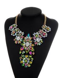 Fashion Multi-color Geometric Shape Diamond Decorated Color Matching Necklace