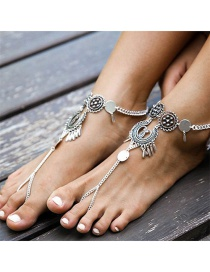 Fashion Silver Color Flower Decorated Pure Color Hollow Out Anklet
