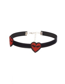 Fashion Red Embroidery Heart Decorated Color Matching Choker