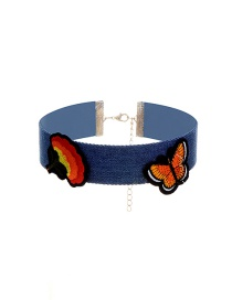 Fashion Multi-color Embroidery Butterfly Decorated Color Matching Choker