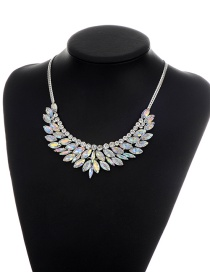 Elegant Multi-color Oval Shape Diamond Decorated Simple Short Chain Necklace