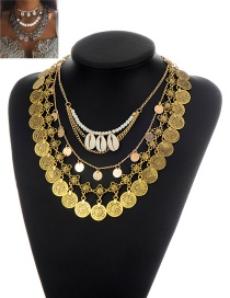 Retro Gold Color Metal Round Shape&shell Decorated Multilayer Necklace