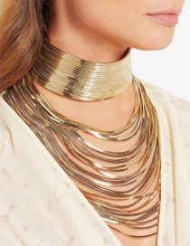Exaggerate Gold Color Pure Color Decorated Simple Multilayer Long Chain Necklace
