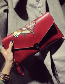 Fashion Red Owl Pattern Decorated Envelop Shape Shoulder Bag