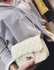 Fashion White Grid Pattern Decorated Pure Color Shoulder Bag