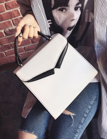 Fashion White Color Matching Decorated Square Shape Shoulder Bag