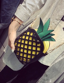 Fashion Yellow Pineapple Decorated Hollow Out Simple Shoulder Bag