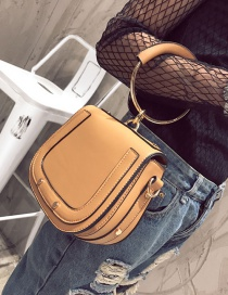 Fashion Yellow Circular Ring Decorated Pure Color Shoulder Bag