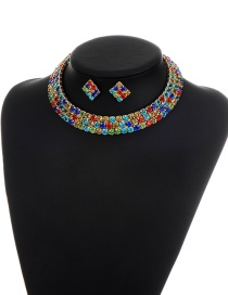 Elegant Multi-color Square Shape Diamond Decorated Simple Jewelry Sets