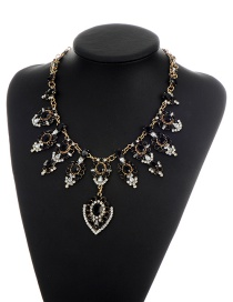Elegant Black Waterdrop Shape Diamond Decorated Simple Necklace