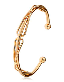 Elegant Gold Color Pure Color Decorated Geometric Shape Opening Bracelet